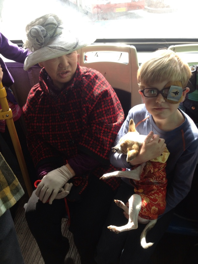 Asher asked to hold this cute dog while on a bus this weekend and the grandma of course let him!