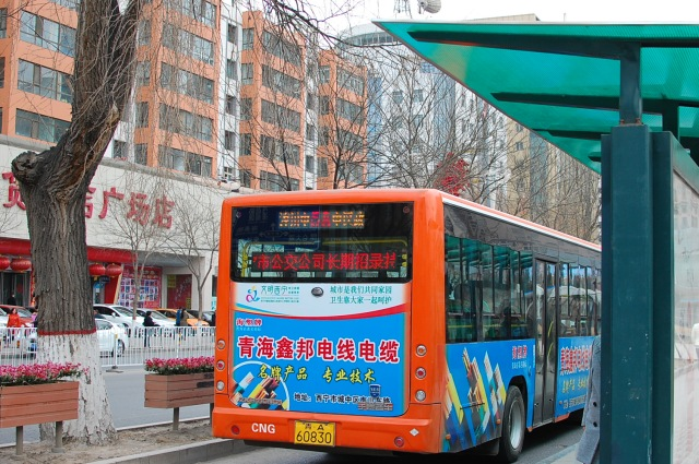 Arriving at the newly reopened bus stop at Xining Square.