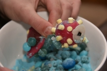 The girls made this fish out of many different kinds of candy.